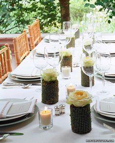 Moss-and-Rose Centerpiece - Martha Stewart Weddings Centerpieces Rose Wedding, Diy Wedding, Wedding Favors, Wedding Reception, Rustic Wedding, Wedding Flowers, Wedding Ideas, Wedding Sparklers, Reception Ideas