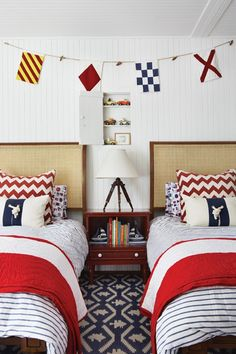 Nautical kids. Designer Anne Hepfer.   Hello Anon.  From House & Home, the products in this room are as follows:  Beds, Robert Lighton/British Khaki; flags, bedding, The Land of Nod; Madeline Weinrib rug and zigzag pillows, Y rope pillows, Williams-Sonoma. I hope that helps. Best, G