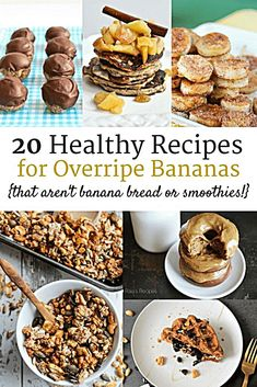 20 Healthy Ripe Banana Recipes (that aren't banana bread or smoothies!) Have a bunch of bananas that are a little past their prime? Check out these 20 healthy recipes for overripe bananas. Many gluten free, dairy free, and clean eating options! Banana Recipes Clean Eating, Ripe Banana Recipes Healthy, Banana Snacks, Banana Dessert Recipes, Clean Eating Desserts, Healthy Recipes, Banana Bread Recipes, Gourmet Recipes, Snack Recipes