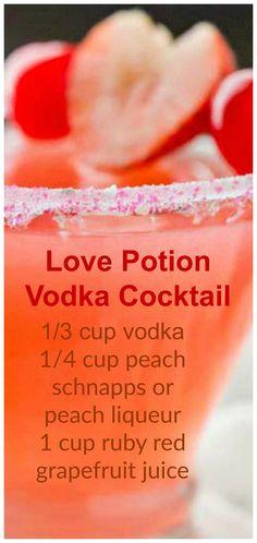 Love Potion Vodka Cocktail ~ vodka, peach schnapps and cherry/raspberry juice Liebestrank-Wodka-Cocktail ~ Wodka, Pfirsichschnaps und Kirsch- / Himbeersaft Drinks Cocktails Vodka, Liquor Drinks, Cocktail Drinks, Beverages, Party Drinks, Peach Schnapps Drinks, Low Calorie Vodka Drinks, Vodka Martini, Kid Drinks