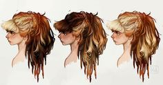 More concept art of Aloy, the lead character from Horizon: Zero Dawn! Some hair variations - we spent a lot of time exploring different ways to let the red hair show through.  I worked on her design, together with the other character artists, for a few months in 2013. I loved working with Guerrilla Games and their talented team! And I'm so proud of their success :) Images (c) Sony and Guerrilla Games -#horizonzerodawn#aloy#guerrillagames
