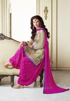 Beige and magenta cotton chanderi patiala #salwar kameez