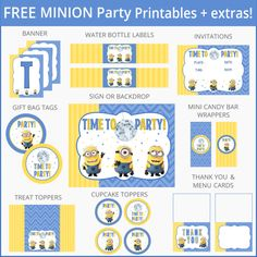 Free Despicable Me Minion Party Printables + Extras! – Free Party Printables at Printabelle Minion Theme, Minion Birthday, Boy Birthday, Birthday Ideas, Minion Party Invitations, Despicable Me Party, 6th Birthday Parties, Partys, Party Printables