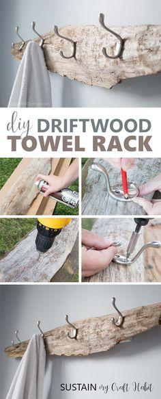 DIY Handtuchhalter Idee Rustic DIY towel rack made with driftwood Rustikaler DIY Handtuchhalter aus Treibholz
