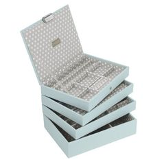 Socially Conveyed via WeLikedThis.co.uk - The UK's Finest Products - STACKERS Set of 4 'CLASSIC SIZE' - Duck Egg STACKER Set of 4 Jewellery Box with Grey Polka Dot Linin http://welikedthis.co.uk/stackers-set-of-4-classic-size-duck-egg-stacker-set-of-4-jewellery-box-with-grey-polka-dot-linin