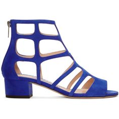 Jimmy Choo Blue Suede Ren Sandals (42.335 RUB) ❤ liked on Polyvore featuring shoes, sandals, blue suede shoes, roman sandals, greek sandals, cage shoes and zipper gladiator sandals