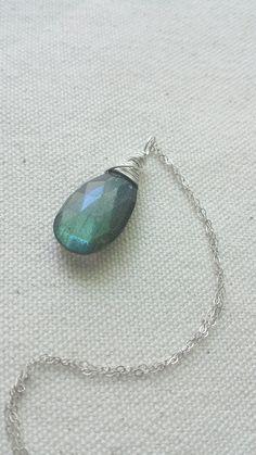 Green Labradorite Pendant Sterling Silver by BlackwoodArts on Etsy