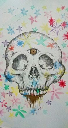 Skull on dotwork and watercolor