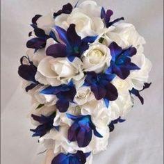 Silk Blue and Purple Dendrobium Orchids Corsage or Bouquet Purple Wedding, Wedding Colors, Wedding Flowers, Wedding Wishes, Our Wedding, Dream Wedding, Wedding Stuff, Bouquet Bleu, Blue Dendrobium Orchids