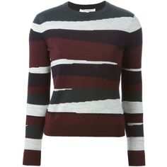 Carven Striped Sweater (41595 RSD) ❤ liked on Polyvore featuring tops, sweaters, red, stripe top, carven sweater, stripe sweater, merino wool sweater and red sweater