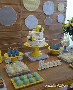 Festa Chevron Amarelo, Azul e Cinza Christian Baby Shower, Pink Bar, 50th Birthday Party, Baby Shower Gender Reveal, Baby Showers, Parties, Cake, Desserts, Ideas
