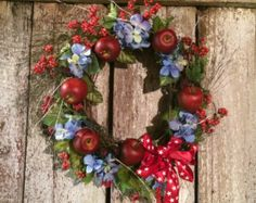 "red white and blue floral wreaths | Wreath 1 2"" with Apples, Raspberries, red & blue flowers with white ..."