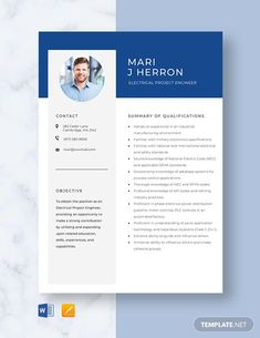 FREE Electrical Engineer Fresher Resume Template - Word (DOC) | PSD | InDesign | Apple (MAC) Apple (MAC) Pages | Publisher | Illustrator | Template.net Modern Resume Template, Resume Design Template, Cv Template, Business Resume, Resume Cv, Business Design, Electrical Engineering Jobs, Engineering Resume Templates, Good Cv