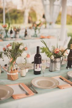 Mint and peach table   Photography: Nessa K Photography - nessakblog.com Read More: http://www.stylemepretty.com/2014/05/30/romantic-woodlawn-bed-breakfast-wedding/