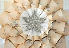 Paper Cone Wreath Vintage French Dictionary Pages w/Genuine German Silver Glass Glitter Star Center by luckygirlgoods on Etsy https://www.etsy.com/listing/78922432/paper-cone-wreath-vintage-french