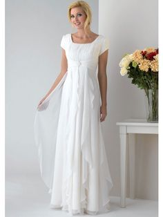 A-line Square Beading Pleats Chiffon Mother of the Bride Dresses