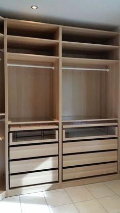 ideas for bedroom ikea pax closet hacks Walk In Closet Ikea, Ikea Pax Closet, Ikea Closet Organizer, Ikea Pax Wardrobe, Walk In Closet Design, Wardrobe Design Bedroom, Master Bedroom Closet, Bedroom Wardrobe, Closet Designs