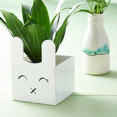 Fun planter ideal for small succulents and cactusFun Handmade bunny head planter. Ideally sized for small cactus, succulent or small house plant. They are also the great for holding stationery, craft items or bits and bobs. A unique gift for all ages that will look at home any where in the house from kitchen to the living room or bedrooms. All of my products have been carefully designed and handmade by myself in my home studio.These planters have been carefully cut and engraved in acrylic…
