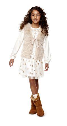stylish & sweet – arizona sequin top, skirt and faux-fur vest