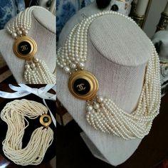 Vintage Pearls & Chanel Button Repurposed Designsbyz