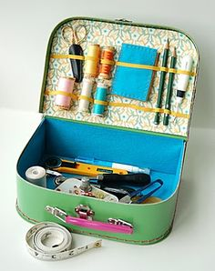 miniature cardboard suitcase sewing kit...adapt train case similarly