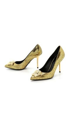 Versace-Gold Medusa Pumps ~ Crackled metallic leather composes these pointed-toe Versace pumps, which are finished with a gold-tone Medusa medallion at the vamp. Sleek metal stiletto heel. Leather sole.