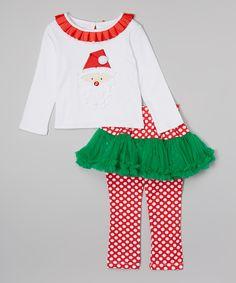 White Santa Top & Skirted Leggings - Infant, Toddler & Girls