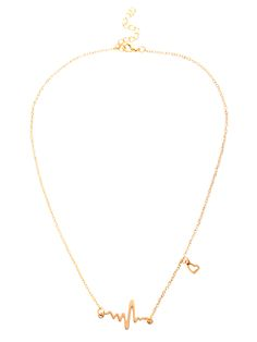 Shop Gold Heart Electrocardiogram Shaped Chain Necklace online. SheIn offers Gold Heart Electrocardiogram Shaped Chain Necklace