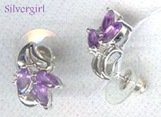 Stunning Sterling Silver & Genuine Amethyst Hand Crafted Cluster Earrings by #SilverGirl on Bonanza