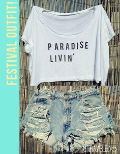 Crop Top PARADISE LIVIN' #unraveledclothing