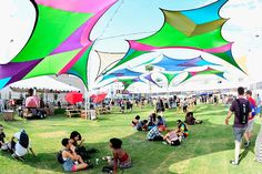 The Life Is Beautiful festival drew 108,000 attendees to downtown Las Vegas from September 25 to 27. Attendees lounged under shade structures during the festival's three-day run. Attendees lounged under shade structures at the festival.