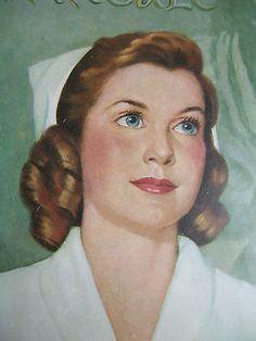 "VIntage Nurse Nursing Diploma Print Framed Florence Nightingale 1950s; 13"" X 9½"""