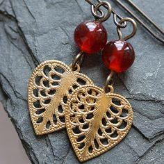 Vintage Beaded Filigree Earrings by WishByFelicity on Etsy