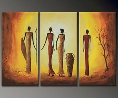 African Abstract Paintings On Canvas   ... Canvas Abstract Oil Painting 120cmx80cm African Women Modern Art GZ116