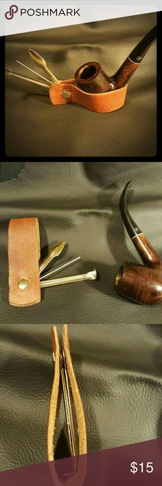 Handmade Leather multi pipe tool and caddy Unique gift for the tobacco enthusiast in your life. Handmade supple leather and metal tool trio. Folds/oscillates for pouch or pocket. Doubles as a hands free holder for loading. Perfect gift for grandpa. ;) handmade Accessories