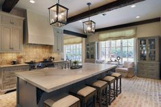 kitchen with square hanging light fixtures