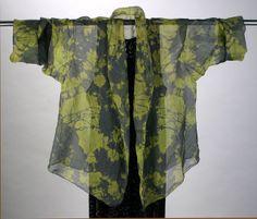 Hand-Dyed Silk Organza Shawl Collar Jacket Black / Olive Hand wash, and machine dry, touch-up with steam iron! Diane Katz Designs