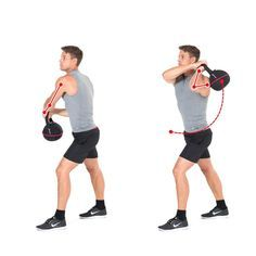 With the kettebell exercise Wood Choppers, the movement of swinging an ax is imitated in order to train primarily the trunk and stomach muscles.