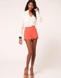 Scalloped edge shorts