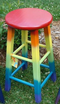 Not the stool, just the rainbow paint. Hand-painted Upcycled Joyful Rainbow Crossing Wood Stool done in bright Painted Bar Stools, Hand Painted Chairs, Funky Painted Furniture, Paint Furniture, Repurposed Furniture, Furniture Making, Furniture Makeover, Cool Furniture, Painted Tables