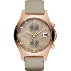 MARC BY MARC JACOBS MBM1397 slim chrono stainless steel and leather... ($360) ❤ liked on Polyvore featuring jewelry, watches, gunmetal grey, water resistant watches, stainless steel watches, leather bracelet watches, chrono watches and stainless steel jewelry