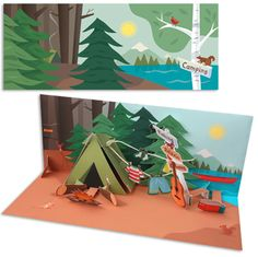 Pop-Up Panoramics Greeting Card - Camping Love Pop Up Cards, Camping Invitations, Camping Cards, Pinterest Diy Crafts, Pop Up Art, Paper Pop, Crafts With Pictures, Fancy Fold Cards, 3d Cards