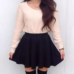 long-sleeved pullover with black skater skirt - Overknees outfit - Best Skirt Teen Fashion Outfits, Fall Outfits, Casual Outfits, Womens Fashion, Outfits 2014, Fashion Wear, Casual Dresses, Christmas Outfits, Trendy Dresses