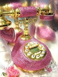 Pink rhinestone studded vintage style phone.