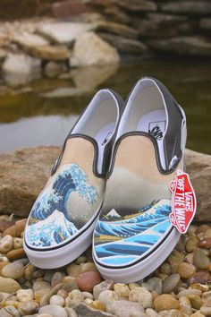 Custom Vans Brand Great Wave Shoes 73f72bb48