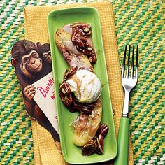 Browned Butter Bananas with Toasted Pecans  Ripe bananas get a sugar-sweet makeover thanks to a rich browned-butter sauce. Top with ice cream and enjoy while you dream of warm nights on the beach.