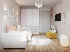 Design and visualization of the interior of the children's room - Kinderzimmer Small Girls Bedrooms, Small Room Bedroom, Room Decor Bedroom, Ikea Bedroom, Baby Bedroom, Baby Room Design, Baby Room Decor, Girls Daybed Room, Teen Bedroom Designs