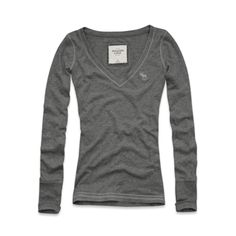 """Abercrombie & Fitch • """"Drew"""" V-Neck Knit Top in Heather Grey $19"""