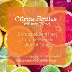 citrus smiles diffuser blend with bergamot, lemon, and orange essential oil-- This blend is perfect for helping to lift your mood! In general citrus oils are wonderful for helping you to feel upbeat and invigorated which makes this blend a 'happiness powerhouse', or at least one that will make you smile :)