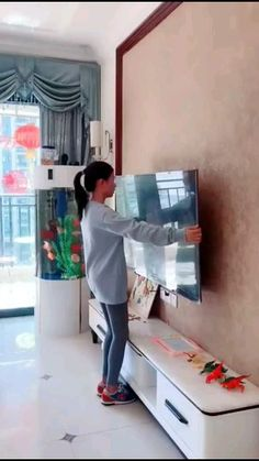 Can a 55 inch TV be wall mounted?  How do you mount a TV on the wall without drilling holes?  How much are wall mounts for flat screen TVs? Wall Unit Designs, Living Room Tv Unit Designs, Tv Wall Design, Tv On Wall Ideas Living Room, Living Rooms, Tv Unit Decor, Tv Wall Decor, Room Decor, Living Room Without Tv